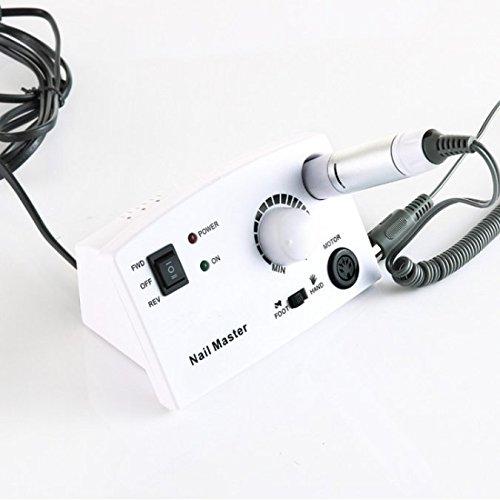 Outil de manucure Rotation 30000 Nail Art professionnel Rectifieuse électrique à ongles Interrupteur au pied Poignée mécanique rapide Polisseur,White