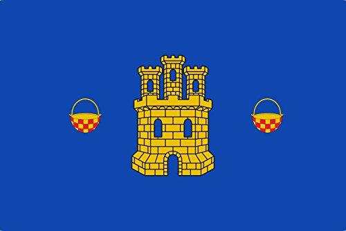 magFlags Bandera Large De Azur un Castillo de Oro flaqueado por Dos calderas de Oro jaqueladas de Gules   Bandera Paisaje   1.35m²   90x150cm