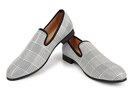 XQWFH Men's Plaid Smoking Slipper Dress Shoes Lattice Houndstooth Vintage Noble Slip-on Loafer Shoes for Wedding and Party, White, 9
