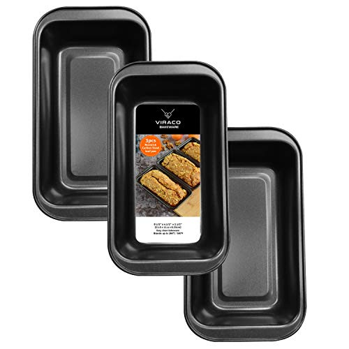 Nonstick Carbon Steel Loaf Pan -3 Pieces Set Black 8.5 Inches By 4.5 Inches Medium Pan For Baking Bread Cakes Pie