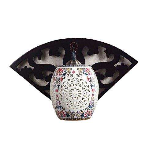 GKJ Lampe de mur, moderne style chinois lit d'allée Creative chambre à coucher Chambre à coucher salon ventilateur unique tête en céramique lampe