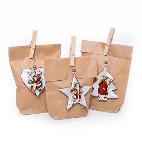 Kerstverpakking set 3 stuks kleine bruine kerstzakken papieren zakken 14 x 22 x 5,6 cm + 3 rood wit groene NIKOLAUS Santa VINTAGE NOSTALGIE Kersthanger BLEK 8,5 cm + 3 klemmen