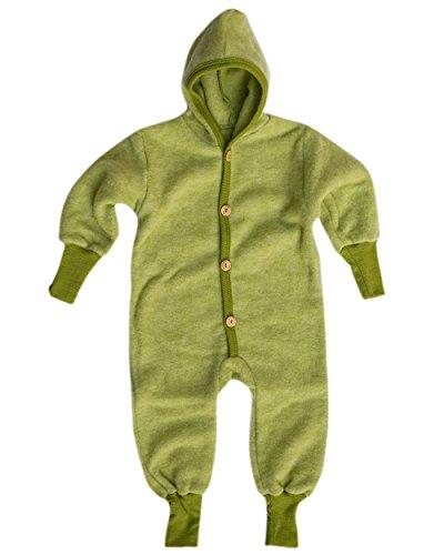 Cosilana Baby Kinder Fleece Overall mit Bündchen am Armen und Füßen, 60% Wolle (kbT), 40% Baumwolle (KBA) (74/80, Lindgrün Melange)