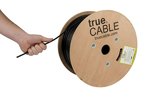 trueCABLE Cat5e Outdoor, 500ft, Waterproof Direct Burial Rated CMX, Black, 24AWG Solid Bare Copper, 350MHz, ETL Listed, Unshielded UTP, Bulk Ethernet Cable