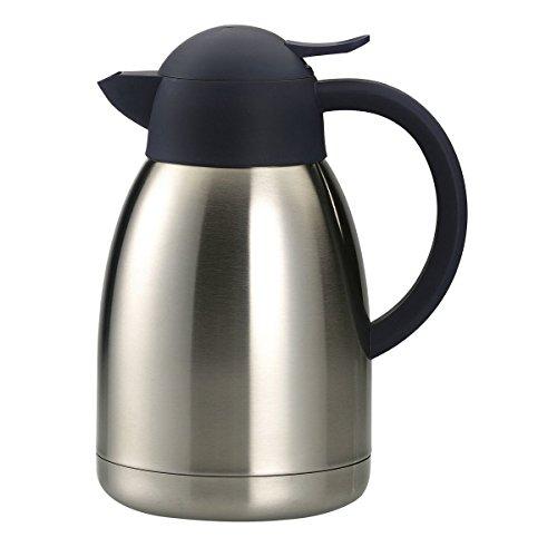 axentia Isolierkanne in Silber, Warmhaltekanne aus doppelwandigem Edelstahl, Kaffeekanne mit Einhand-Ausgießautomatik, Teekanne mit Kunststoff-Griff, Volumen: ca. 1,5 L