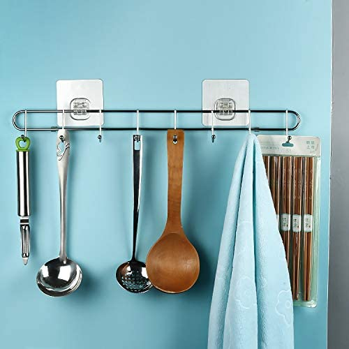 Voroly Stainless Steel Strong Self Adhesive Wall Cloth Hanger Hook (8-Hook) product image