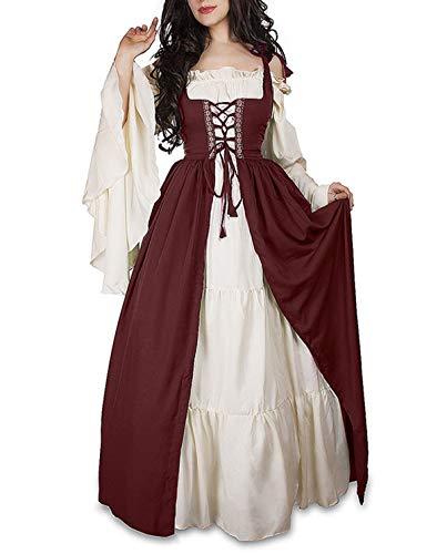 Primavera y Otoño Medieval Renacimiento Disfraz de Reina Vestido con Vendaje Moda Cuerno Manga Vestido de Hombro Frío Mujer Elegante Vintage Maxi Vestidos de Fiesta Partido
