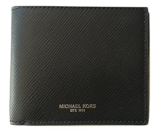 Michael Kors Billfold - Cartera de cuero para hombre, 8 tarjetas, color negro