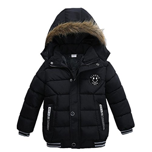 Vicbovo Clearance Sale Toddler Baby Boy Kids Fashion Hooded Fur Thick Jacket Coat Winter Warm Clothes Outwear (3T, Black)