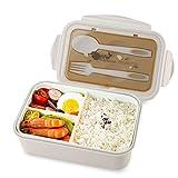 vitutech Lunch Box, Bento Box Boite Bento avec Fourchette Et 3 Compartiments1400ml Sécurité Anti-Fuite Écologique Hermétique Boîte à Repas pour Le Pique-Nique, l'école, Le Travail, Kaki