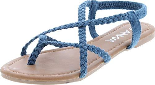 ANNA Women's Braided Strappy Flat Y-Strap Flip Flop Sandal Blue Denim 8.5