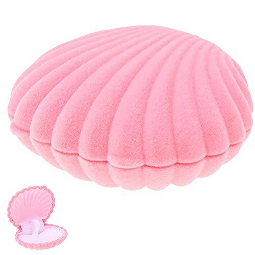 NALCY Shell Forma Caja, Caja para Joyas, Shell Forma Collar de Terciopelo Caja de Regalo Joyas Pantalla Caja de Almacenamiento Caja Mujer Chica Rosa