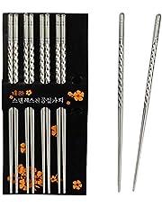Palillos, Chantwon 5 Pares de Palillos de Acero Inoxidable 10pcs Lavables Para Platos de Aushi o Arroz, Reutilizables