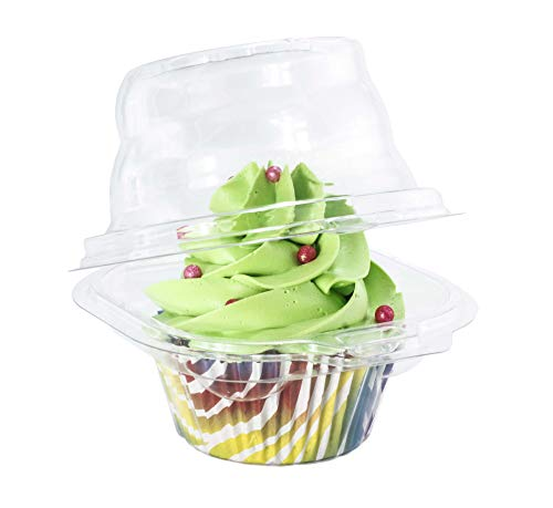 Katgely Individual Cupcake Container - Single Compartment Cupcake Carrier Holder Box - Stackable - Deep Dome - Clear Plastic - BPA-Free- (Pack of 50)