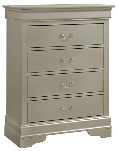 Glory Furniture 4 Drawer Chest, Silver Champagne