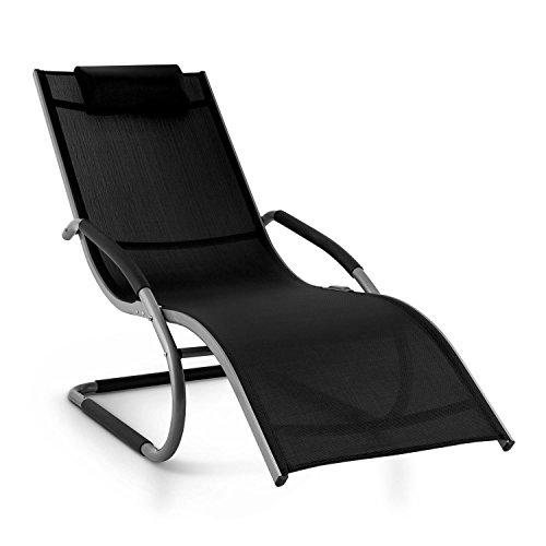 blumfeldt Sunwave ergonomische Gartenliege - Special Edition, Schaukelliege, Liegestuhl, pflegeleicht, Kunststoffstopper, Aluminium, atmungsaktiv, witterungsbeständig, schwarz