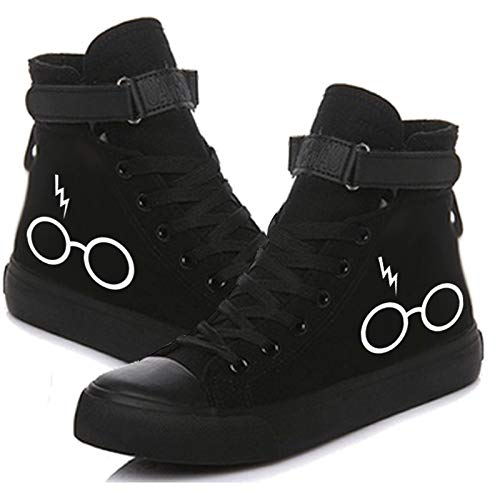 STARQUEEN Unisex Adult Wizard Glasses Printed Canvas Shoes Lace Up Sneakers Tennis Black