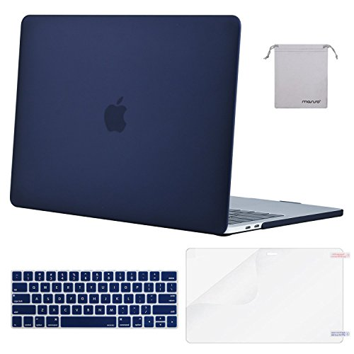 MOSISO MacBook Pro 13 inch Case 2019 2018 2017 2016 Release A2159 A1989 A1706 A1708, Plastic Hard Case&Keyboard Cover&Screen Protector&Storage Bag Compatible with MacBook Pro 13 inch, Navy Blue