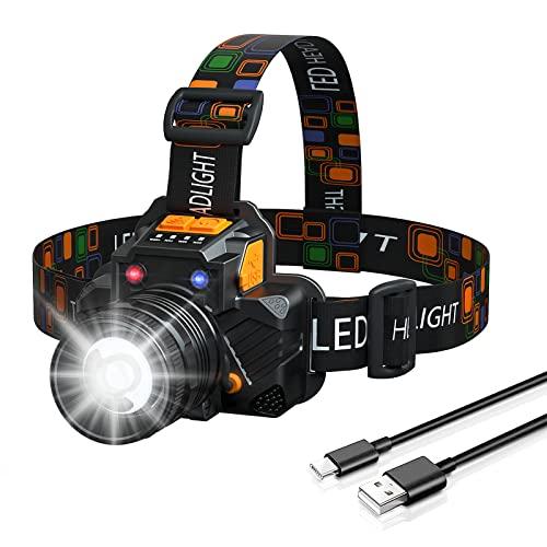 Kucoal LED Stirnlampe, USB Wiederaufladbar, 90° drehbar, verstellbarer Zoom, ultralanger Ausdauer Kopflampe,IPX5 wasserdicht, 3 Lichtmodi, geeignet für Camping, Laufen, Radfahren, Angeln