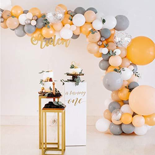 Lake Grau und Orange Ballon Girlande Kit, 115 Stück Graue Luftballons Orange Luftballons Weiße Luftballons, Für Mädchen Geburtstag, Mädchen Baby Shower, Grau und Pfirsich Hochzeitsdekoration.