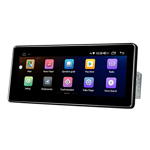 JOYING Single 1 Din Android 10 Car Stereo 10.25 Inch HD Touchscreen 4+64GB Car Radio with USB Port, AUX Input, FM Radio Receiver, Fiber Optical Output,Bluetooth Audio and Hands Free Calling