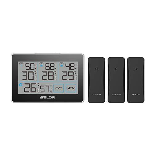 ESHOWEE Wetterstation Funk mit 3 Außensensor, Digitales Thermometer Hygrometer Innen, Hydrometer Feuchtigkeit mit Hohen Genauigkeit, für Innenraum, Babyraum, Wohnzimmer, Büro (Schwarz)