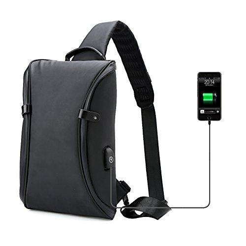 TUGUAN Bolsa bandolera con Puerto de carga USB resistente al agua Multiuso mochila para hombres mujeres Fit 9.7 pulgadas Ipad usar al aire libre, viaje