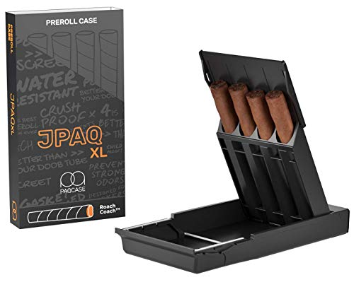JPAQxʟ - Ultra-Sleek, Extra Wide Roll Holder w/ Gasket Seal and Roach Coach, Strong and Sturdy, Holds 4 King Size Rolls, Portable, Compact, Convenient