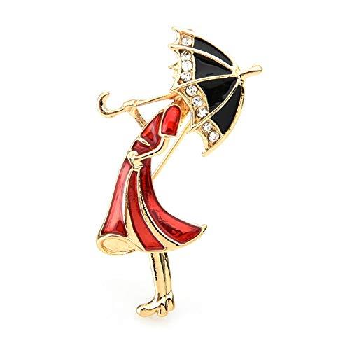 Tenant un parapluie fille broches femmes métal strass robe rouge dame Banquet fête broche broches cadeaux