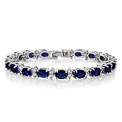 Gem Stone King 20.00 Ct Gorgeous Oval and Round 7inches Sparkling Cubic Zirconia CZ Tennis Bracelet