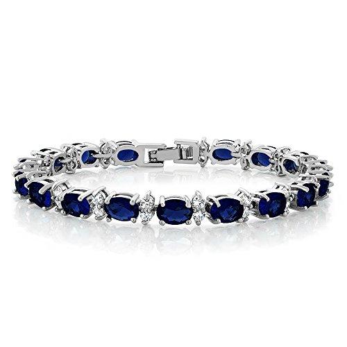 Gem Stone King 20.00 Ct Gorgeous Oval and Round 7 Inch Sparkling Cubic Zirconia CZ Tennis Bracelet