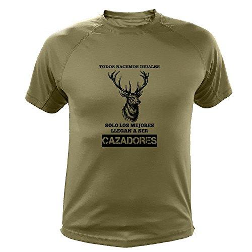 Camisetas Personalizadas de Caza, Todos nacemos Iguales, Ciervo - Ideas Regalos (30129, Verde, M)