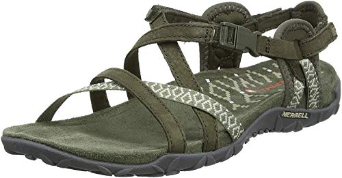 Merrell Terran Lattice Ii, Damen Sandalen, Grün (Dusty Olive), 37 EU