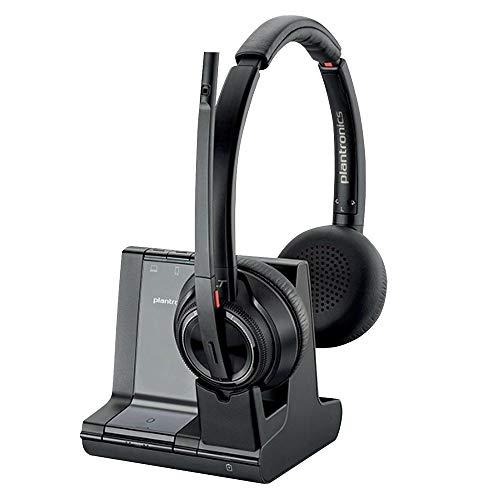 Plantronics Bluetooth DECT Headset Savi W8220-M Binaurale Tragevariante (mit USB); Microsoft Skype for Business zertifiziert in Schwarz
