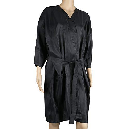 Bata de masaje en el spa, bata de kimono de salón negro de Segbeauty para el color del cabello Maquillaje del cliente Vestido de bata de salón para salón de belleza, uniforme de cliente
