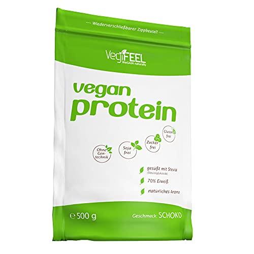 VegiFEEL Vegan Protein - Eiweiß Sojafrei - pflanzliches Proteinpulver mit Erbsen-, Reis-, Johannisbrotkeimling- und Hanfprotein - Schoko - 500 g Zipp-Beutel