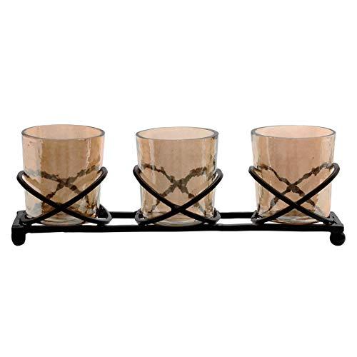 PTMD lantaarns set Milss Gold Luster, 4-TLG, bestaande uit 3 kleine lantaarns en een voet van ijzer