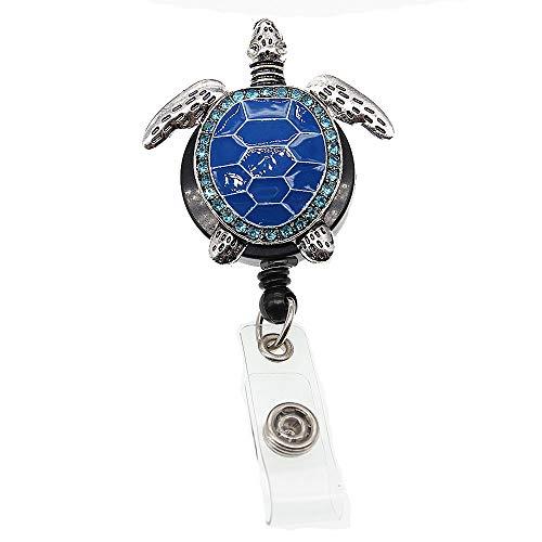 Aquamarine Enamel Sea Turtle Retractable ID Badge Reel,Name Card Holder,ID Badge Reel for Nurse (Blue)
