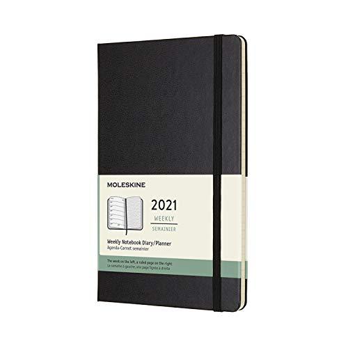 Moleskine Wochenplaner 2021, 12 Monate Wochenkalender, Wochenplaner und Notizbuch, fester Einband, Format Groβ 13 x 21 cm, farbe schwarz, 144 Seiten