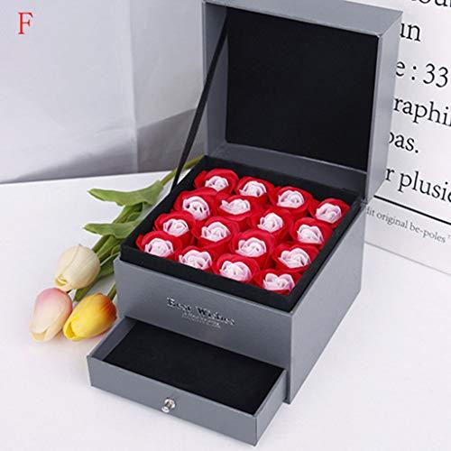 Andouy 16pcs Rose Soap Blumen in Doppelschicht Geschenkbox, Faszinierende Duft von Rosen, Seifenblumen Rosenblätter, Hübsche Form(13x13x12cm.Rot)