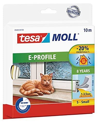 tesamoll E-Profil Gummidichtung - Selbstklebende Dichtung zum Isolieren von Spalten an Fenstern und Türen - Weiß - 10 m x 9 mm x 4 mm