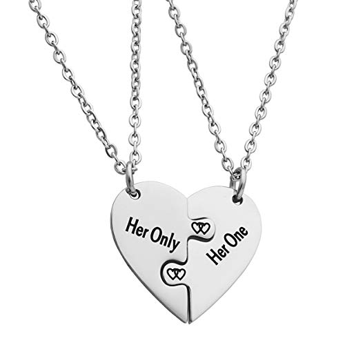 Ankiyabe Lesbian Couples Heart Puzzle Piece Pendant Necklace LGBT Lesbian Girlfriend Wife Wedding Gift Women Pride (Her Only & Her One)