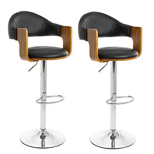 IHD barkruk barkruk barstoel set van 2 keuken stoel kruk chroom walnoot