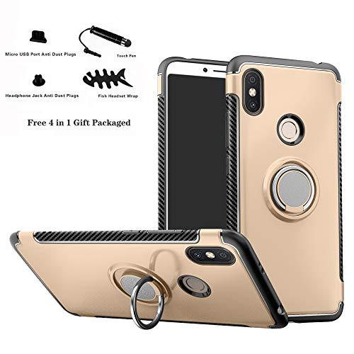 Labanema Xiaomi Redmi S2 Funda, 360 Rotating Ring Grip Stand Holder Capa TPU + PC Shockproof Anti-rasguños teléfono Caso protección Cáscara Cover para Xiaomi Redmi S2 (Redmi Y2) - Oro