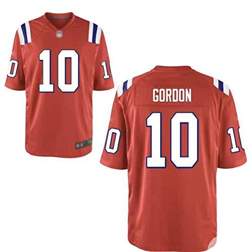 JUNBABY Rugby Trikot, New England Patriots 10# Josh Gordon, Herren Fußball T-Shirt Frauen-orange-L