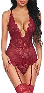 Aranmei Body de Encaje Mujer Conjunto de Lencería Sexy Back Correas Cruzadas Corset Ropa Interior de Cuello en V Profundo sin Medias (Rojo, Medium)