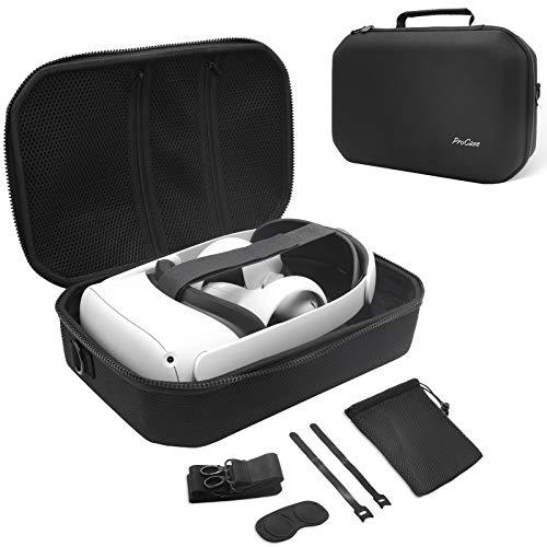 ProCase Hard Travel Case for Oculus Quest 2 VR Gaming Headset, Controllers Accessories Shockproof EVA Hard Shell Carrying Case Storage Bag with Shoulder Strap, Also Fits Elite Strap -Black…