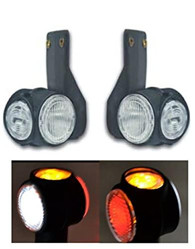 Luce Ingombro 12V/24V x 2 LED Lampada CAMION FURGONI VAN CAMPER 3 Colori Bianco Rosso Arancio