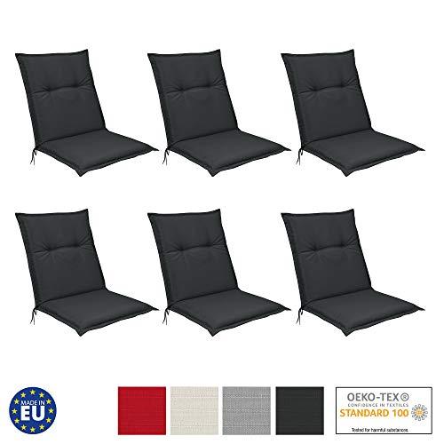 Beautissu 6er Set Niedriglehner Auflagen Set Base NL 100x50x6cm Sitzkissen Rückenkissen Stuhlkissen für Gartenstühle Sitzpolster Graphit-Grau