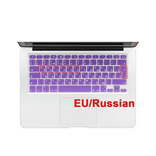 Euro Enter Russian Language Letter Soft Silicone Keyboard Cover For Macbook Air 13 Pro 13 15 17 Retina Protector Sticker Film-Purple-